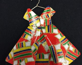 origami dress ornament red