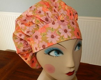 Pink Daisies  Banded Bouffant Surgical Cap