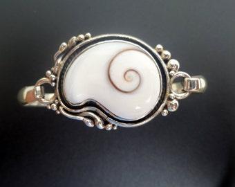 Handmade Sterling Silver and Shiva Eye Shell Bangle - White Shell Bangle - Shiva Eye Bracelet - One of a Kind Shell Bracelet