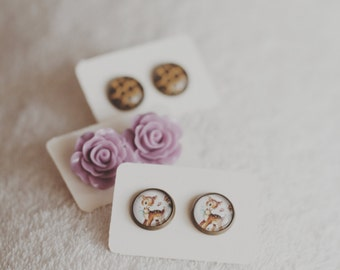 "Polymer clay ""lilac pastel roses"" earrings"