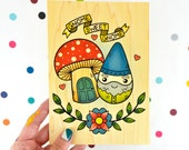 gnome sweet gnome / high quality art print on real wood / garden gnome and mushroom kitschy decor