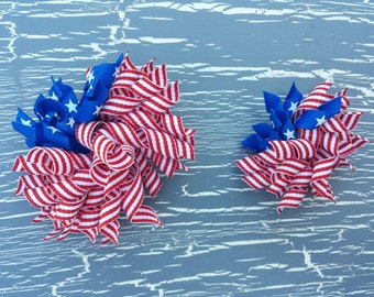 American Flag Korker Bow, 4th of July Bow, Red white and Blue Korker, 4th of July Korker Bow. Patriotic Korker, 4th of July Curly Bow. Curly
