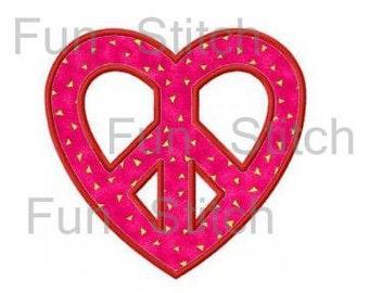 Love heart peace sign applique machine embroidery design