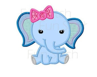 Girly elephant applique machine embroidery design instant download