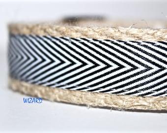 Black Stripe Dog Collar, Pet Collar, Black and White Collar, Chevron Stripe Collar, 1 inch Collar