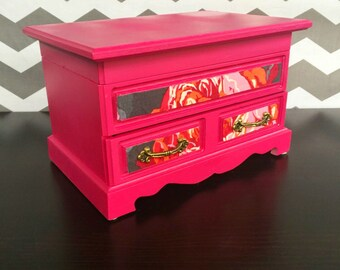 Jewelry Box in Hot Pink Magenta Yellow- Taylor