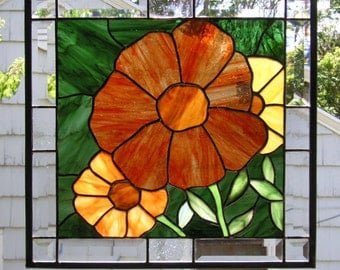 "Summer Marigolds - 16 1/4"" Wide. By. 22 1/4"" Tall--Stained Glass Window Panel-"