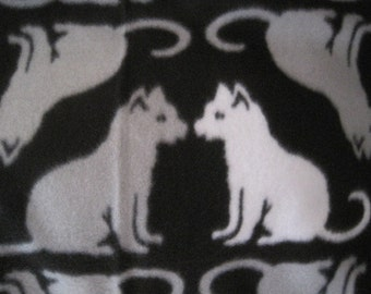 Cats on Black with Gray Fleece Coverlet - Ready to Ship Now