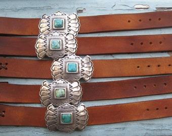 Sundance Saddle Tan Leather Turquoise Stone Cuff Bracelet We Ship To France