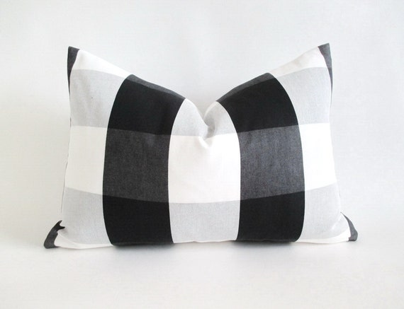 Lumbar Pillow Cover Buffalo Check Black by theCottageWorkroom