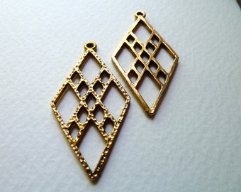Vintage Brass Earring Components - Deco Style - 42x21mm - Qty 2 pcs, one pair (vb1)