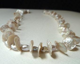 Full Strand Silver Keishi Pearls - Cornflake Pearls - Lotus Petal Pearls  - 10-12mm - High Luster - AAA