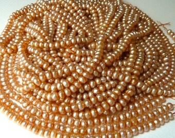 Peach Button Pearls - 5-5.5mm -  (bp20)
