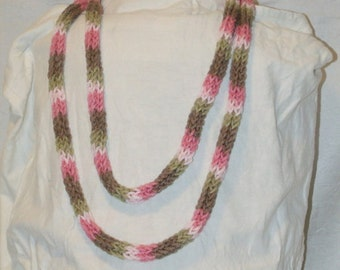 Skinny Variagated Pink I Chord Necklace