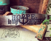 hope is my anchor (Hebrews 6:19) leather cuff (black bronze shimmer)