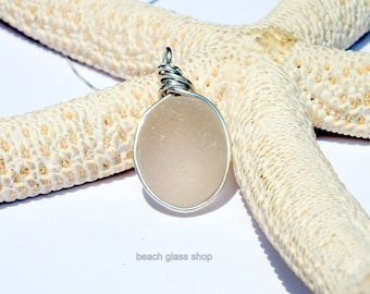 Sterling Beach Glass Necklace - Sea Glass Necklace- RARE Pale Yellow Glass - Beach - Mermaid Tears