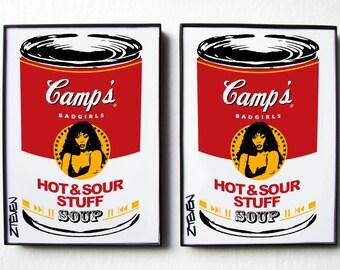 Donna Summer Pop Art Soup! original framed art, set of 2 by Zteven