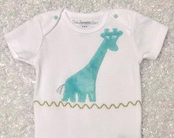 Baby  Appliquéd Onesie with Blue Giraffe for Boy or Girl
