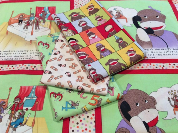 Quilting fabric funky monkey fabric children 39 s fabric for Children s material sewing