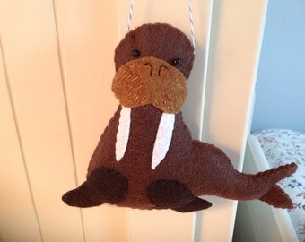Whiskery Walrus Felt Ornament