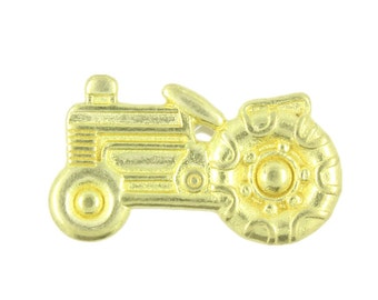 Metal Buttons - Tractor Metal Shank Buttons in Gold Color - 1 inch - 4 pcs