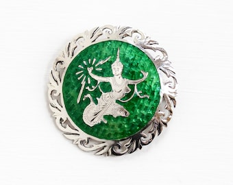 Sale - Vintage Sterling Silver Siam Green Guilloche Enamel Brooch - Unique Mekkala Goddess of Lightning Statement Round Filigree Jewelry Pin