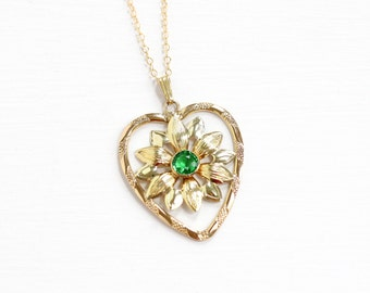 Sale - Vintage 12k Yellow Gold Filled Simulated Peridot Pendant Necklace - Green Glass Stone Daisy Flower Heart August Birthstone Jewelry