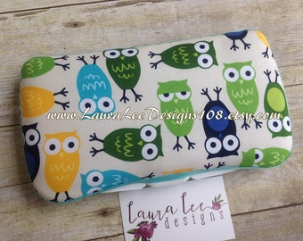 Hoot Owls in Blue and Green Boutique Style Travel Wipe Case, Monogrammed Wipe Case, Nappy Wipes, Personalized Wipe Case, Diaper Wipes Case