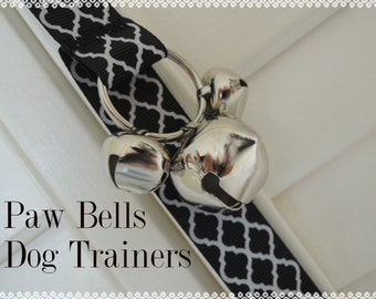 Black Quatrefoil Dog Training Bells, Paw Bells, Dog Potty Trainer, Instructions Included, FAST Shipping