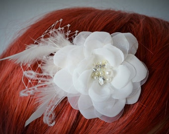 Bridal hair Flower with feathers, Vintage Flower Fascinator, Bridal Hair flower,Ivory flower with french netting and rhinestones with pearls