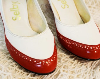 Spectator Pumps, Red and White, Size 8 1/2, Vintage