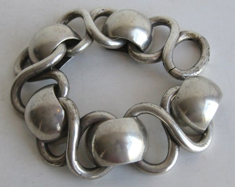 Vintage 50s 60s Mexican Modernist Heavy Sterling Silver Link Bracelet