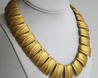 Vintage 80s Anne Klein Designer Panel Link Gold Tone Satin Finish Fashion Necklace