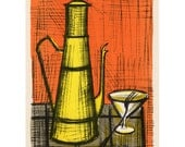 Bernard Buffet Still-Life a la Coffee-Pot lithograph reproduction Mid Century Modernist Abstract 14