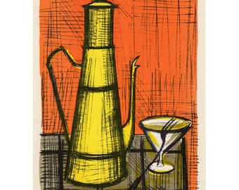 Bernard Buffet Still-Life a la Coffee-Pot lithograph reproduction Mid Century Modernist Abstract 14