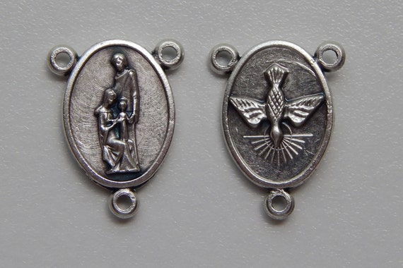 5 Rosary Center Piece Findings, Holy Family, Holy Spirit, Dove, Silver Color Oxidized Metal, Rosary Center, Religious, Made in Italy, RC203