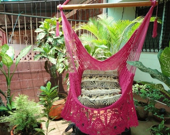 Fuchsia Sitting Hammock, Hanging Chair Natural Cotton and Wood plus Presidential Fringe