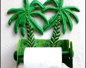 Toilet Paper Holder - Hand Painted Metal Banana Tree - Tropical Bathroom Decor - Toilet Tissue Holder - Tropical Decor 990 -TP