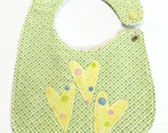 light green bias plaid 3  appliqué yellow hearts bib