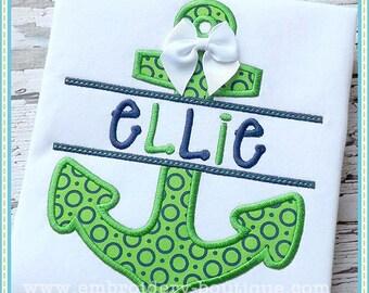 SAMPLE SALE, Custom Nautical Split Anchor Shirt, Cruise Shirt for Boys or Girls, Beach Shirt, Personalized Embroidery