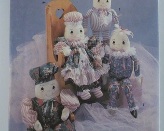 """UNCUT Simplicity Crafts Pattern 7311 Stuffed Egghead Dolls and Clothes 23"""" Inch Doll Vintage Sewing"""