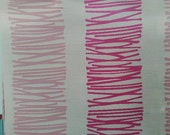 Custom Curtains Valance Roman Shade with Off-White / Hot Pink in Scribble Pattern