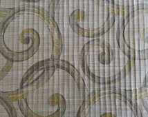Custom Curtains Valance Roman Shade in Beige / Light Olive / Ash Gray in Large Scroll Pattern