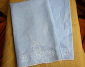 Vintage Hanky, Handkerchief, Blue Linen, Micro Floral Embroidery, Hand Stitched Rolled Hem