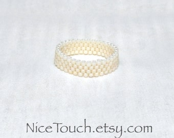 SUMMER SALE!!! Free Shipping or Save 20% ~ Pretty Pearl peyote novelty stackable beaded ring ~ Made to Order
