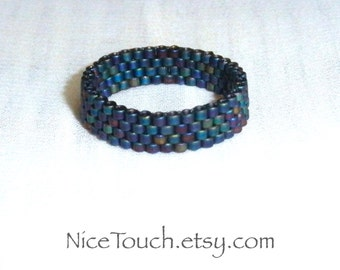 SUMMER SALE!!! Free Shipping or Save 20% ~ Steampunk Rainbow peyote novelty stackable beaded ring ~ Made to Order