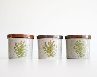 Vintage 1970s Stoneware Pottery Planter Trio