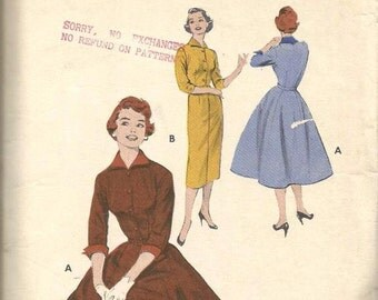 1950s Slim Sheath Dress Full Skirt Dress Push Up Sleeves Wing Collar Cuffs Butterick 7038 Size 12 Bust 30 Women's Vintage Sewing Pattern