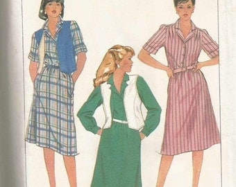 1980s Easy to Sew Dress and Reversible Vest Plus Size Simplicity 7423 Uncut FF Size 18-20 Bust 40 - 42 Women's Vintage Sewing Pattern