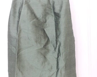 Green Silk Pencil Skirt Size Small